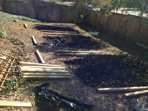 Here, all the beds were tilled and the hill was leveled out and ready for the frames to be assembled and put in place.